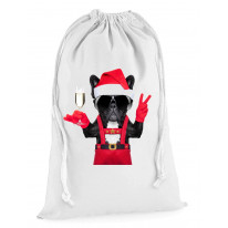 French Bulldog Santa Claus Style Father Christmas Presents Stocking Drawstring Sack
