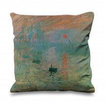 Claude Monet Impression Sunrise Faux Silk 45cm x 45cm Sofa Cushion