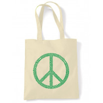 Peace Symbol Marijuana Leaf Tote Shoulder Shopping Bag