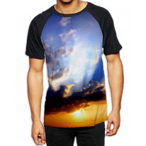 Sunset with Clouds Men's All Over Graphic Contrast Baseball T Shirt