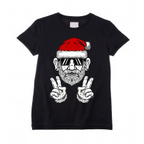Cool Hipster Santa Hat Christmas Childrens Kids T-Shirt