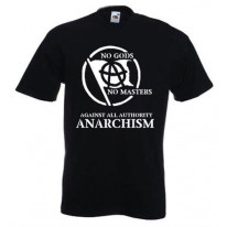 Anarchist Slogan White Print T-Shirt