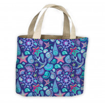 Sea Shells Watercolour Pattern All Over Tote Shopping Bag For Life
