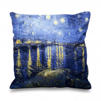 Van Gogh Starry Night Over The Rhone River Faux Silk 45cm x 45cm Sofa Cushion