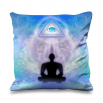 Lotus Pose Third Eye Faux Silk 45cm x 45cm Sofa Cushion