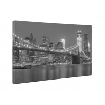 New York Brooklyn Bridge Black and White Box Canvas Print Wall Art - Choice of Sizes