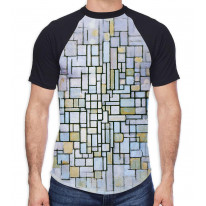 Piet Mondrian Composition in Blue and Grey Men's All Over Graphic Contrast Baseball T Shirt