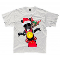 French Bulldog and Jack Russell Terrier Santa Claus Style Father Christmas Kids T-Shirt