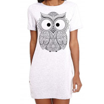 Cross Eyed Owl Large Print Women's T-Shirt Dress