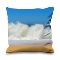 Waves Crashing Lovers Beach Seascape Faux Silk 45cm x 45cm Sofa Cushion