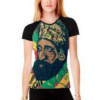 Haile Selassie Rasta Wall Art Women's All Over Graphic Contrast Baseball T Shirt