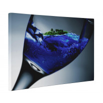 Tropical Island Seascape in Wine Glass Canvas Print Wall Art - Choice Of Sizes