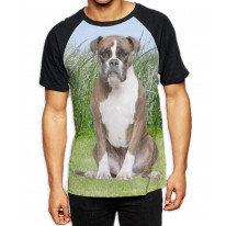 Boxer Dog Sat on Grass Men's All Over Print Graphic Contrast Baseball T Shirt