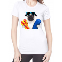 Pug Dog On Holiday Funny Women's T-Shirt
