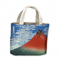 Hokusai Mount Fuji in Clear Weather Red Tote Shopping Bag For Life