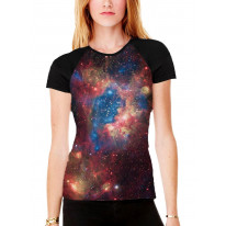 Multi Coloured Galaxy Women's All Over Graphic Contrast Baseball T Shirt