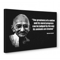 Mahatma Gandhi Vegetarian Quote Box Canvas Print Wall Art - Choice of Sizes