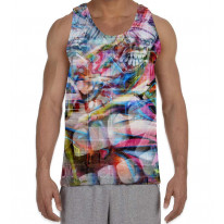Abstract Teeth Graffiti Men's All Over Print Graphic Vest Tank Top