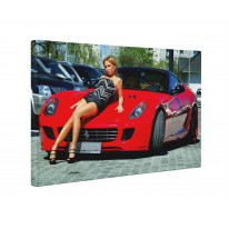 Red Ferrari with Model Box Canvas Print Wall Art - Choice of Sizes