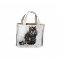 Black Cat Drawing Tote Shopping Bag For Life