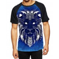 Tribal Lion Face Blue Men's All Over Graphic Contrast Baseball T Shirt
