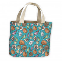 Sea Shells Blue Pattern All Over Tote Shopping Bag For Life