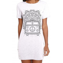 Hippie Van VW Camper Large Print Women's T-Shirt Dress