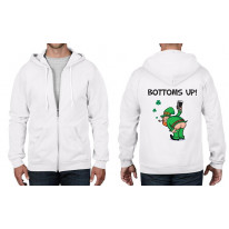 Leprechaun Bottoms Up! St Patricks Day Ful Zip Hoodie
