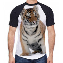 Tiger Cub in Snow Men's All Over Graphic Contrast Baseball T Shirt