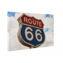 Route 66 Road Sign Box Canvas Print Wall Art - Choice of Sizes