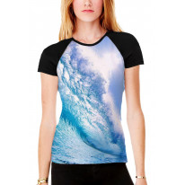 Waves Breaking Seascape Women's All Over Graphic Contrast Baseball T Shirt