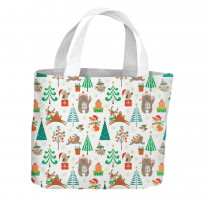 Christmas Cartoon Animals Pattern All Over Tote Shopping Bag For Life