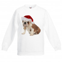 Bulldog With Santa Claus Hat Christmas Kids Jumper \ Sweater
