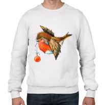 Christmas Robin With Bauble Cute Men's Sweater \ Jumper