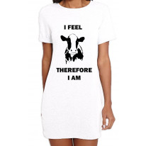 I Feel Therefore I Am Vegetarian Women's T-Shirt Dress