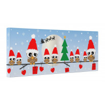Christmas Family of Owls on Branch with Santa Hats Box Canvas Print Wall Art (30 x 12)