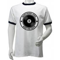 Northern Soul Keep The Faith Record Men's Ringer T-Shirt