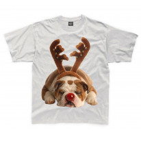 Bulldog Rudolph Reindeer Cute Christmas Kids T-Shirt