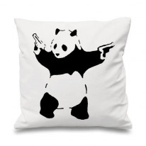 Banksy Panda With Pistols Cushion