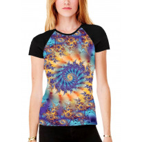 Fractal Loop Bubbles Women's All Over Graphic Contrast Baseball T Shirt