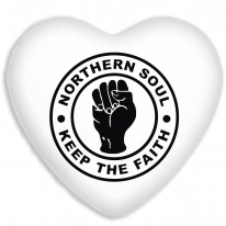 Keep The Faith Northern Soul Faux Silk Heart Shaped Sofa Cushion