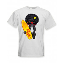 French Bulldog Surfer With Afro Hair Men's T-Shirt