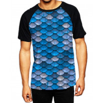 Fish Scales Blue Men's All Over Print Graphic Contrast Baseball T Shirt