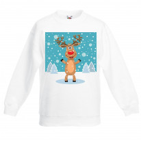 Rudolph Reindeer and Snow Flakes Christmas Kids Jumper \ Sweater