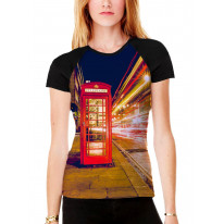 London Phone Box Women's All Over Graphic Contrast Baseball T Shirt