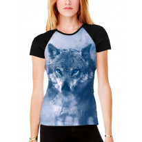Wolf in Snow Women's All Over Graphic Contrast Baseball T Shirt