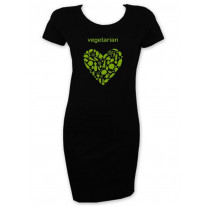 Vegetarian Heart Logo Short Sleeve T-Shirt Dress