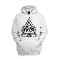 All Seeing Eye In A Triangle Illuminati Men's Pouch Pocket Hoodie Hooded Sweatshirt