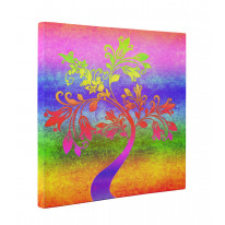 Psychedelic Autumn Tree Box Canvas Print Wall Art - Choice of Sizes