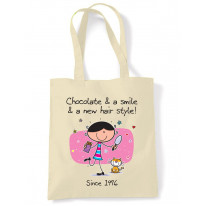 Chocolate and a Smile and a New Hairstyle 40th Birthday Tote Shoulder Shopping Bag